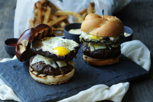 Mushroom Cheeseburger with an Egg